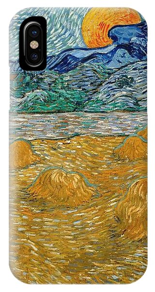 IPhone Case featuring the painting Evening Landscape With Rising Moon by Van Gogh