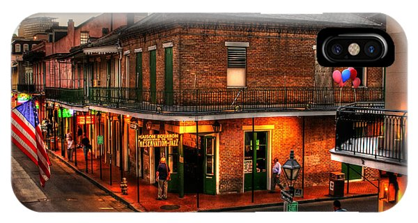 Street Sign iPhone Case - Evening On Bourbon by Greg and Chrystal Mimbs