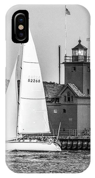 Evening Sail At Holland Light - Bw IPhone Case