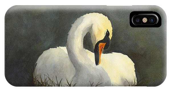 IPhone Case featuring the painting Evening Swan by Phyllis Howard