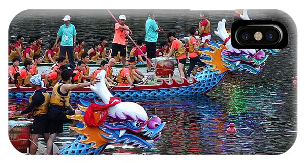 IPhone Case featuring the photograph Evening Time Dragon Boat Races In Taiwan by Yali Shi