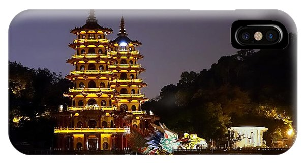 IPhone Case featuring the photograph Evening View Of The Dragon And Tiger Pagodas In Taiwan by Yali Shi