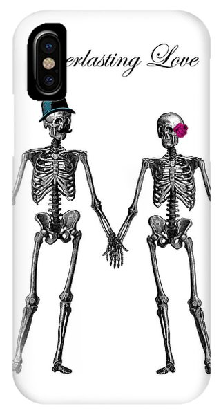 Anatomy iPhone Case - Everlasting Love Couple Skeleton Couple by Madame Memento