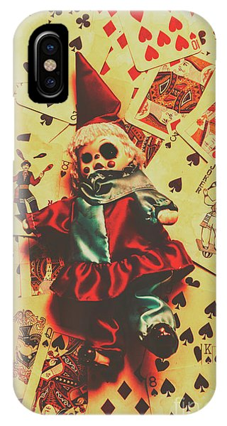 Angle iPhone X Case - Evil Clown Doll On Playing Cards by Jorgo Photography - Wall Art Gallery