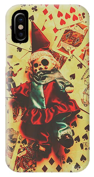 Evil Clown Doll On Playing Cards IPhone Case