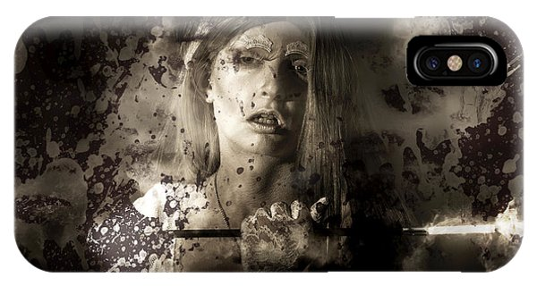Smoke Fantasy iPhone Case - Evil Vampire Woman Looking Into Bloody Mirror by Jorgo Photography - Wall Art Gallery