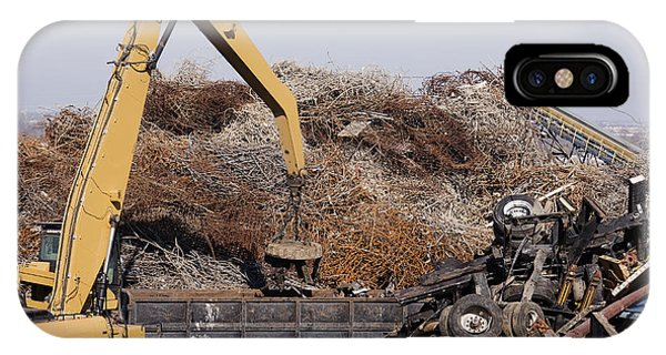 Excavator Moving Scrap Metal With Electro Magnet Phone Case by Jeremy Woodhouse