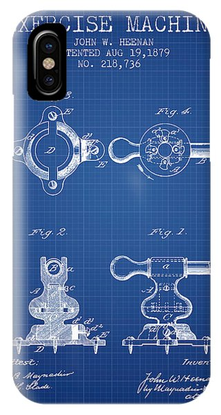 Workout iPhone Case - Exercise Machine Patent From 1879 - Blueprint by Aged Pixel