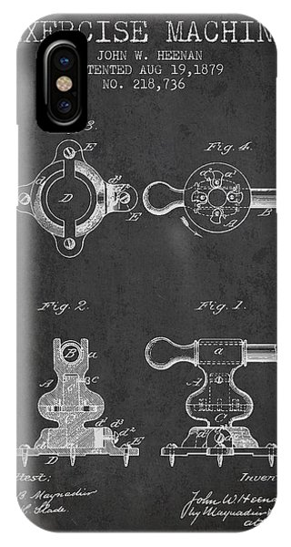 Workout iPhone Case - Exercise Machine Patent From 1879 - Charcoal by Aged Pixel