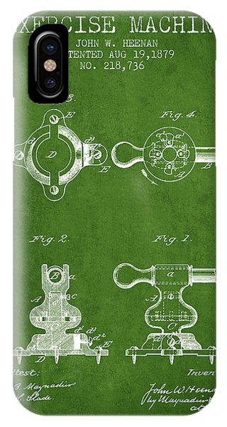 Workout iPhone Case - Exercise Machine Patent From 1879 - Green by Aged Pixel