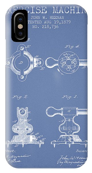 Workout iPhone Case - Exercise Machine Patent From 1879 - Light Blue by Aged Pixel