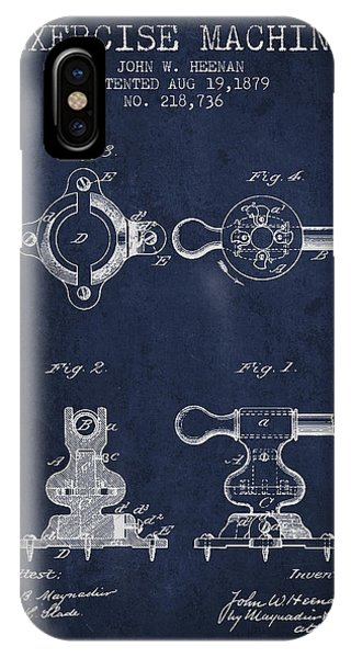 Workout iPhone Case - Exercise Machine Patent From 1879 - Navy Blue by Aged Pixel