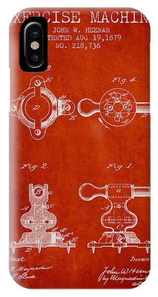 Workout iPhone Case - Exercise Machine Patent From 1879 - Red by Aged Pixel