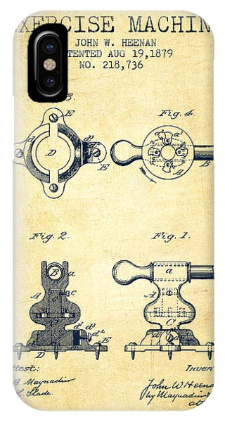 Workout iPhone Case - Exercise Machine Patent From 1879 - Vintage by Aged Pixel