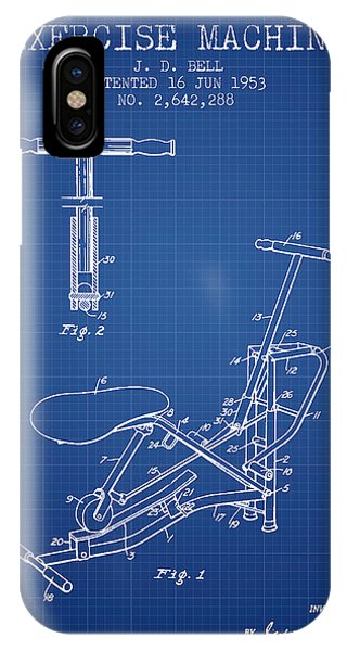 Workout iPhone Case - Exercise Machine Patent From 1953 - Blueprint by Aged Pixel