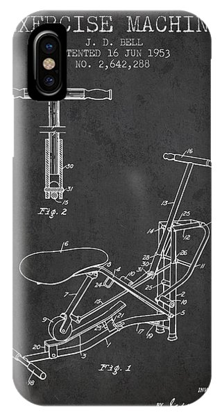Workout iPhone Case - Exercise Machine Patent From 1953 - Charcoal by Aged Pixel