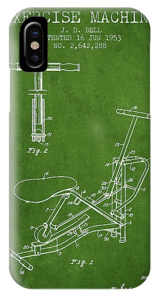 Workout iPhone Case - Exercise Machine Patent From 1953 - Green by Aged Pixel