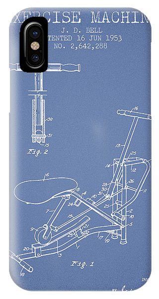 Workout iPhone Case - Exercise Machine Patent From 1953 - Light Blue by Aged Pixel