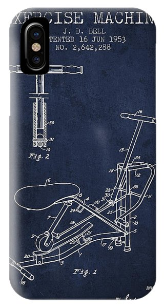Workout iPhone Case - Exercise Machine Patent From 1953 - Navy Blue by Aged Pixel