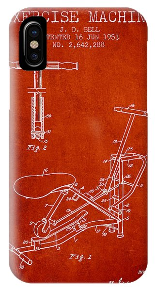 Workout iPhone Case - Exercise Machine Patent From 1953 - Red by Aged Pixel