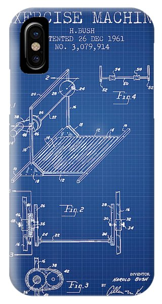 Workout iPhone Case - Exercise Machine Patent From 1961 - Blueprint by Aged Pixel