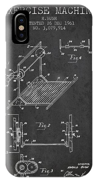 Workout iPhone Case - Exercise Machine Patent From 1961 - Charcoal by Aged Pixel