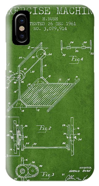 Workout iPhone Case - Exercise Machine Patent From 1961 - Green by Aged Pixel