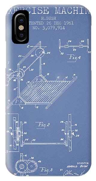 Workout iPhone Case - Exercise Machine Patent From 1961 - Light Blue by Aged Pixel
