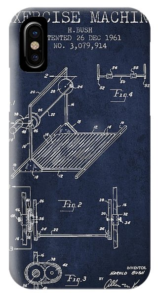 Workout iPhone Case - Exercise Machine Patent From 1961 - Navy Blue by Aged Pixel