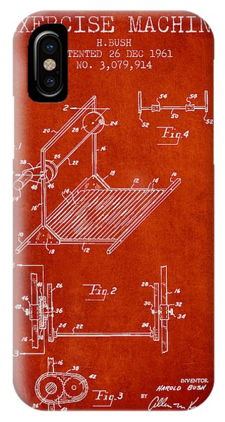 Workout iPhone Case - Exercise Machine Patent From 1961 - Red by Aged Pixel