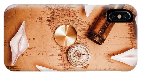 Navigation iPhone Case - Explorer Desk With Compass, Map And Spyglass by Jorgo Photography - Wall Art Gallery