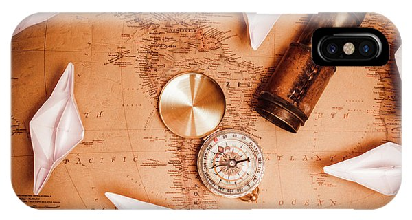 Explorer iPhone Case - Explorer Desk With Compass, Map And Spyglass by Jorgo Photography - Wall Art Gallery