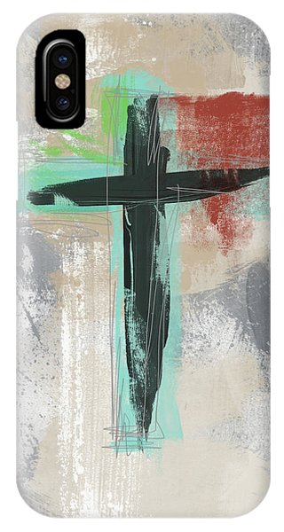 Christian Cross iPhone Case - Expressionist Cross 3- Art By Linda Woods by Linda Woods