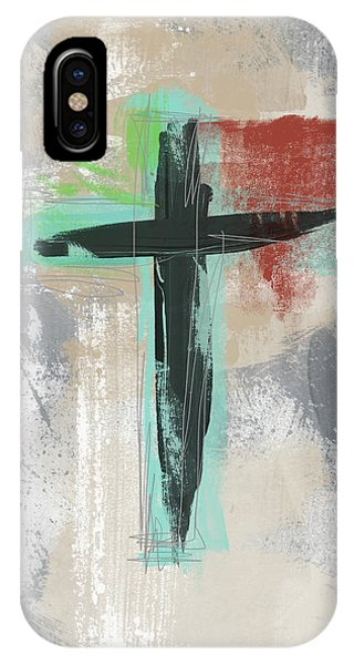 Cross iPhone X Case - Expressionist Cross 3- Art By Linda Woods by Linda Woods