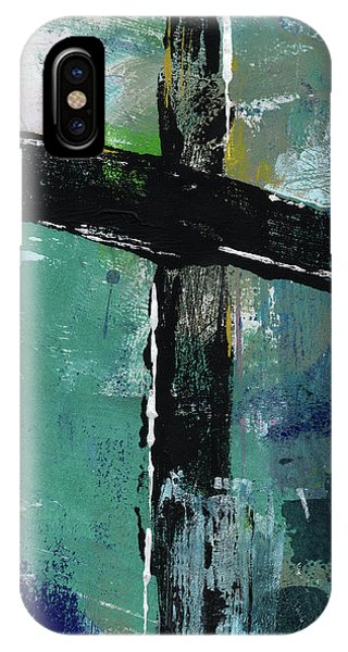 Christian Cross iPhone Case - Expressionist Cross 8- Art By Linda Woods by Linda Woods