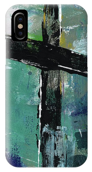 Cross iPhone X Case - Expressionist Cross 8- Art By Linda Woods by Linda Woods
