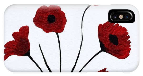 IPhone Case featuring the painting Expressive Abstract Poppies A61216b_e by Mas Art Studio
