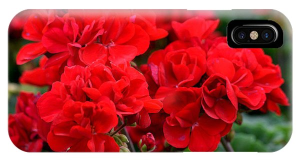 IPhone Case featuring the painting Expressive Floral Red Geraniums E131716  by Mas Art Studio