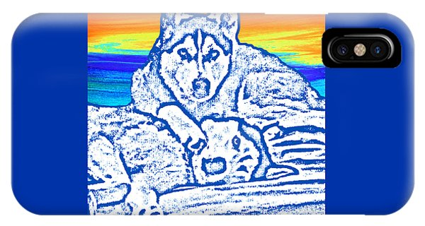 IPhone Case featuring the painting Expressive Huskies Mixed Media C51816 by Mas Art Studio