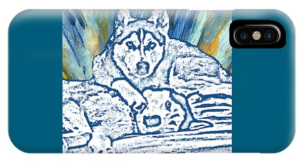 IPhone Case featuring the painting Expressive Huskies Mixed Media F51816 by Mas Art Studio