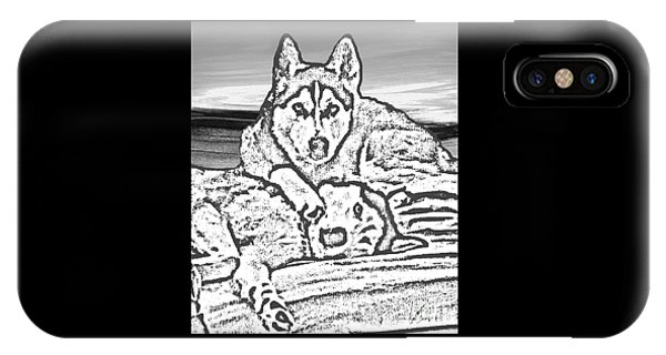 IPhone Case featuring the photograph Expressive Huskies Mixed Media G51816_e by Mas Art Studio