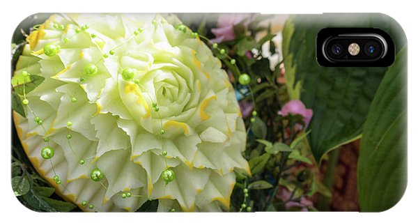 Extravagant Jeweled Dishes - Carved Melon Flower With Green Pearls IPhone Case