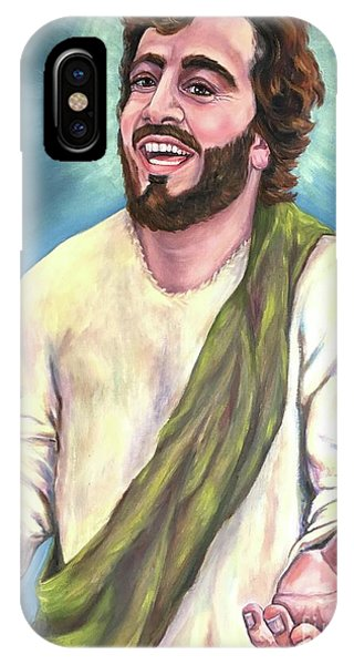 Laughing Jesus iPhone Case - Exulted-laughing Jesus  by Laura Napoli