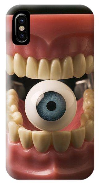 Surrealistic iPhone Case - Eye Held By Teeth by Garry Gay