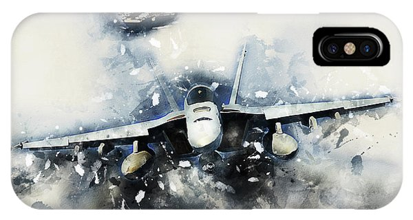 Uss Hornet iPhone Case - F-18 Super Hornet Painting by J Biggadike