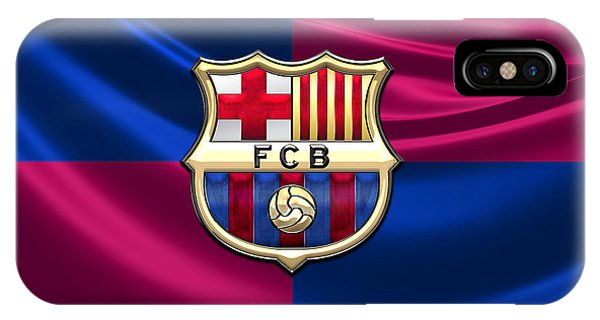 Fineart iPhone Case - F. C. Barcelona - 3d Badge Over Flag by Serge Averbukh