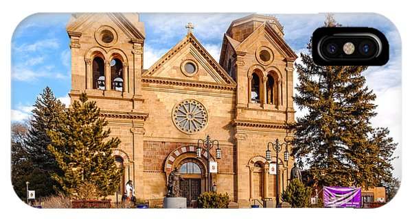 Sangre De Cristo iPhone Case - Facade Of Cathedral Basilica Of Saint Francis Of Assisi - Santa Fe New Mexico by Silvio Ligutti