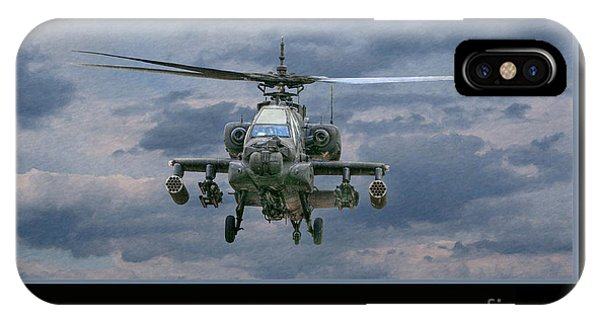 Helicopter iPhone X Case - Face Of Death Ah-64 Apache Helicopter by Randy Steele