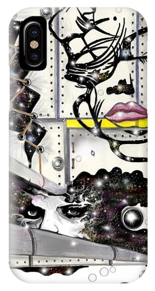 IPhone Case featuring the digital art Faces In Space by Darren Cannell