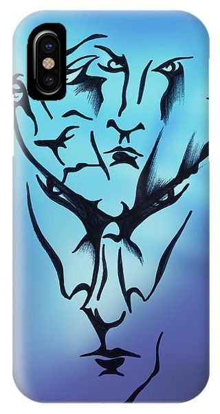 IPhone Case featuring the drawing Faces by Keith A Link